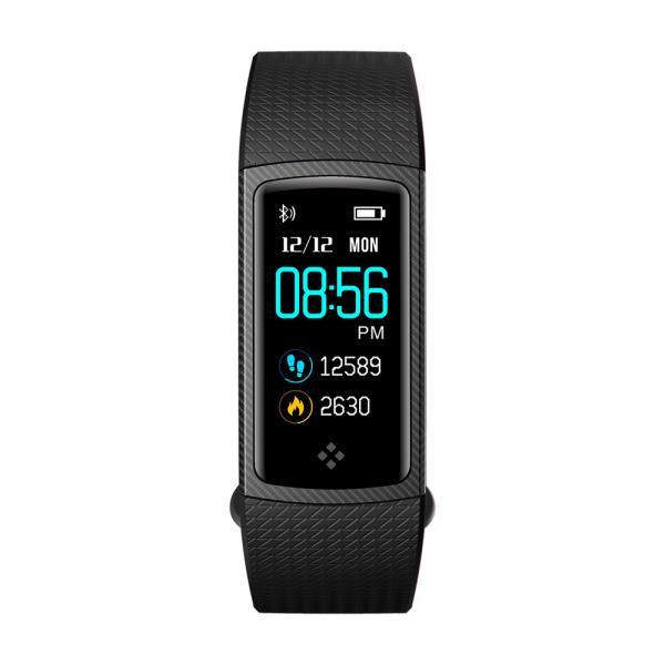 Bratara fitness MoreFIT™ S9 Pro, ecran color, BT 4.0, monitorizare puls dinamic, nivel oxigen, monitorizare somn Android, iOS, notificari, curea carbon, negru [1]