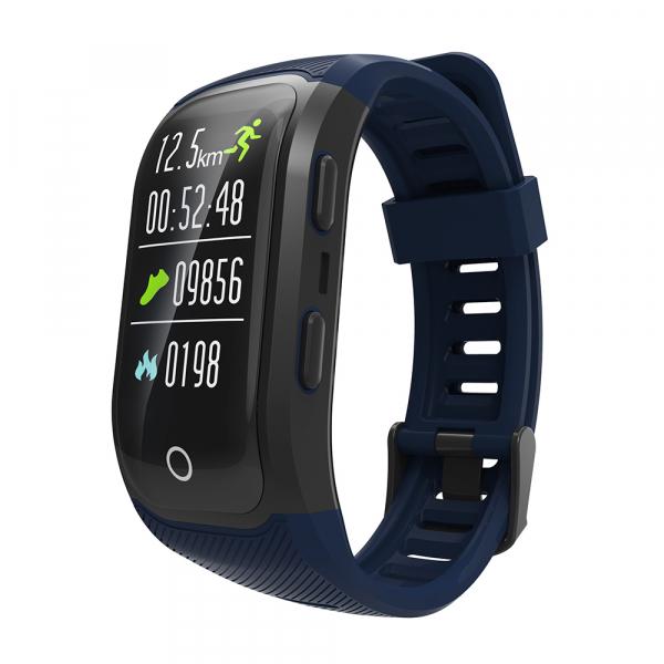 Bratara fitness MoreFIT™ S908s Premium Color, GPS, multi sport, rezistent la apa IP68, puls dinamic, ultra long stand by, Android, iOS, notificari, albastru 0