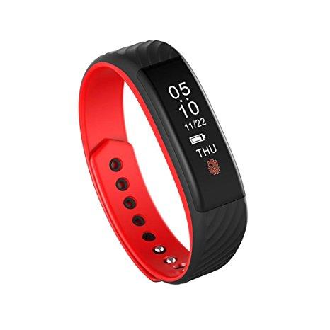 Bratara fitness MoreFIT™ W810 Plus , BT 4.0 , RAM 32 ,  notificari apeluri sms si aplicatii , stand by 10 zile, rezistenta la apa ip67, monitorizare puls dinamic, Android, iOS, vibratii, negru/rosu 0