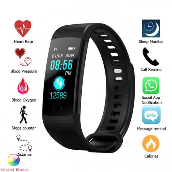 Bratara fitness MoreFIT™ Y5,  BT 4.0, Puls, Oxigen, Mod sport, Ecran Color, Rezistenta la Apa IP67, Notificari apeluri, Android, iOS, Remote camera, Negru 3