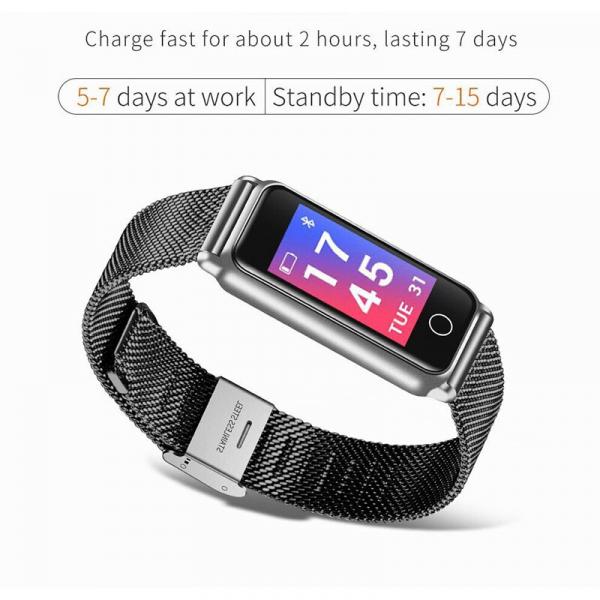 Bratara fitness MoreFIT™ Y8 ,BT 4.0, Ritm Cardiac, Tensiune, Nivel Oxigen, Calorii, Pedometru, Monitorizare Somn, Notificari Apeluri si Mesaje, Anti-lost, Stand-by 15 zile, Android, iOS, Curea Otel I 2