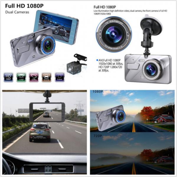 Camera auto DVR FreeWay™ A10, FullHD 1080p@30Fps, camera dubla, G-senzor, lentile Sony , super night vision, suport prindere, 4 inch LCD, unghi de filmare 170 grade, inregistrare ciclica ( bucla , loo 2