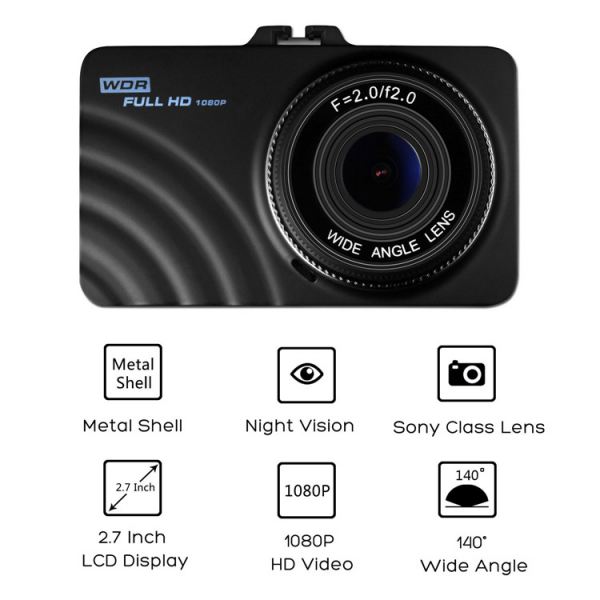 Camera auto DVR FreeWay™ CT609, 1080p FullHD, G-senzor, lentile Sony , super night vision, suport prindere , 2.7 inch LCD, unghi de filmare 140 grade, inregistrare ciclica ( bucla , looping ) , negru [0]