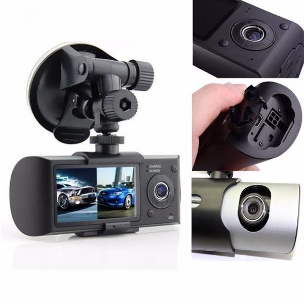 Camera auto DVR FreeWay™ R300, GPS, camera dubla, 720p@30fps HD, baterie incorporata, G-senzor, lentile Sony , super night vision, mod de noapte automat, 2.7 inch LCD, unghi de filmare 140 grade, inre 1