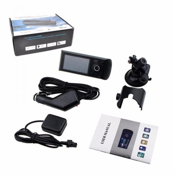Camera auto DVR FreeWay™ R300, GPS, camera dubla, 720p@30fps HD, baterie incorporata, G-senzor, lentile Sony , super night vision, mod de noapte automat, 2.7 inch LCD, unghi de filmare 140 grade, inre 6