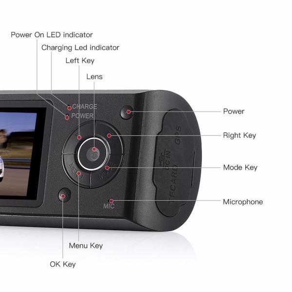 Camera auto DVR FreeWay™ R300, GPS, camera dubla, 720p@30fps HD, baterie incorporata, G-senzor, lentile Sony , super night vision, mod de noapte automat, 2.7 inch LCD, unghi de filmare 140 grade, inre 7