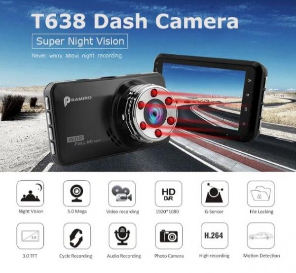 """Camera Auto DVR FreeWay™ T638, FullHD 1080p@30Fps, G-senzor, Lentile Sony, Super Night Vision, Suport prindere, Display 3"""" LCD, Unghi De Filmare 170 Grade, Detectare miscare, Inregistrare Ciclica ( bu 2"""