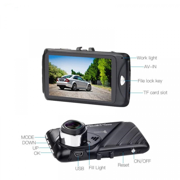 Camera auto DVR FreeWay™ T658, camera dubla, FullHD 1080p@30Fps, G-senzor, lentile Samsung, Super Night Vision, Suport prindere , 2 inch TFT, unghi de filmare 170 grade, Detectare miscare, inregistrar 3