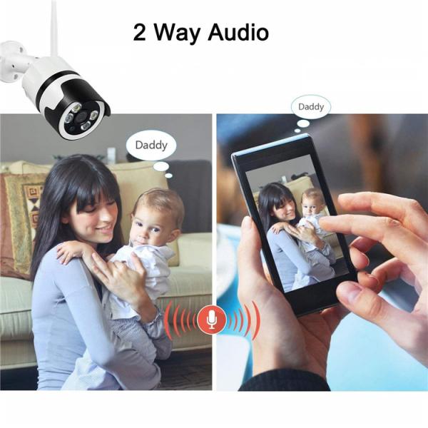 Camera de supraveghere IP WIFI BabyToy™ AG03 , Exterior , Conectare Telefon / PC, night vision color, rezistenta la apa, FullHD 1920*1080, camera 2.0 MP, senzor miscare, alb [2]