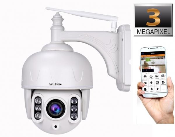 Camera de supraveghere IP WIFI Sricam™ SH028 Plus SriHome , Exterior , UltraHD 3MP, Conectare Telefon / PC , night vision , rezistenta la apa, rezolutie 2048x1536, senzor miscare , alb [0]