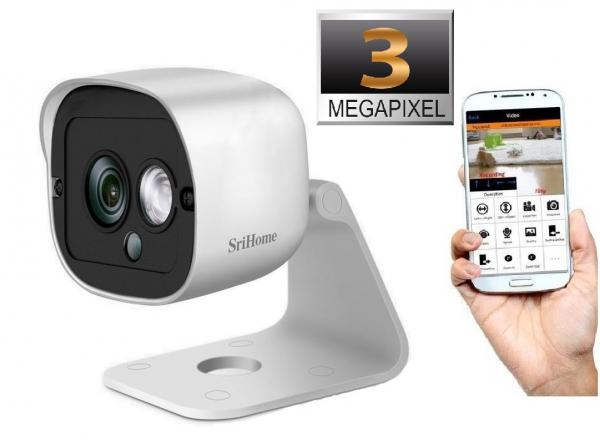 Camera de supraveghere IP WIFI Sricam™ SH029 Plus SriHome Exterior , UltraHD 3MP 2048x1536, Conectare Telefon / PC , night vision , rezistenta la apa, senzor miscare, alb [0]