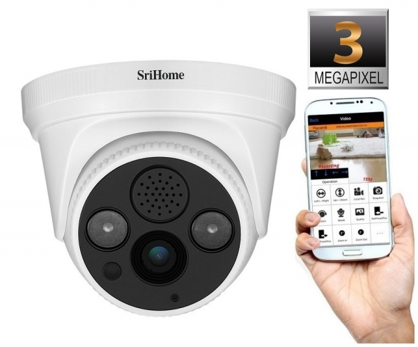 Camera de supraveghere IP WIFI Sricam™ SH030 Plus SriHome Interior, UltraHD 3MP 2048x1536, Conectare Telefon / PC , night vision , comunicare bidirectionala, senzor miscare, alb 1