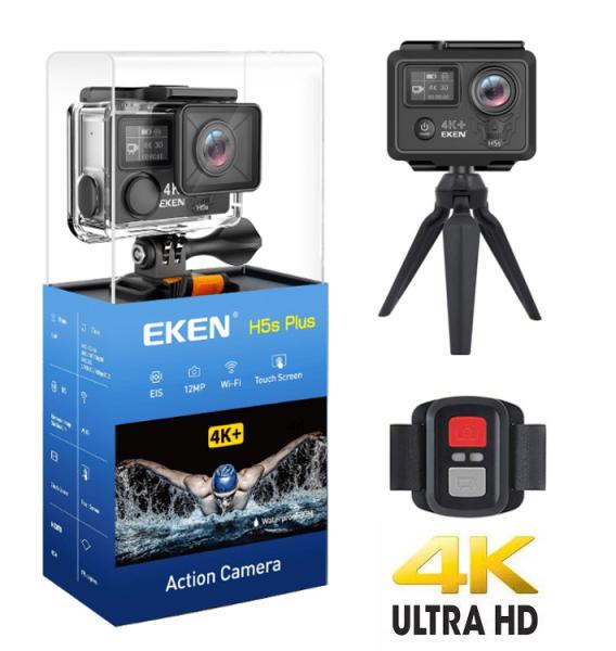 "Camera Video Sport Eken H5s+ 4k+ 12MP UHD 30fps EIS (stabilizator), Wi-Fi, 2"" LCD touch screen + dual dispaly , telecomanda, accesorii, carcasa waterproof 100feet, unghi de filmare 170 grade, ultra sl 0"