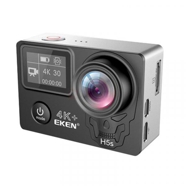 "Camera Video Sport Eken H5s+ 4k+ 12MP UHD 30fps EIS (stabilizator), Wi-Fi, 2"" LCD touch screen + dual dispaly , telecomanda, accesorii, carcasa waterproof 100feet, unghi de filmare 170 grade, ultra sl 1"