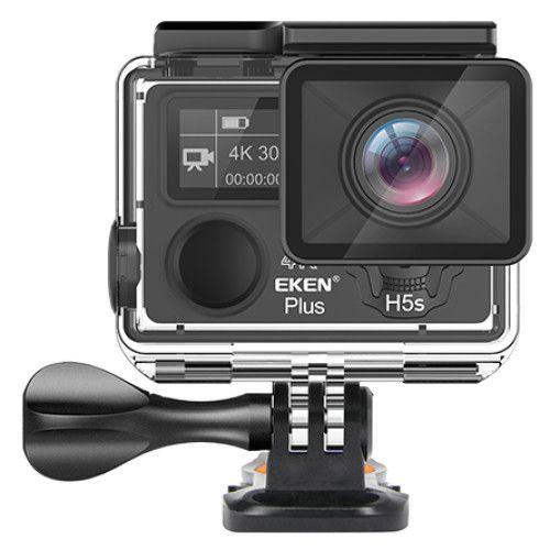 "Camera Video Sport Eken H5s+ 4k+ 12MP UHD 30fps EIS (stabilizator), Wi-Fi, 2"" LCD touch screen + dual dispaly , telecomanda, accesorii, carcasa waterproof 100feet, unghi de filmare 170 grade, ultra sl 2"