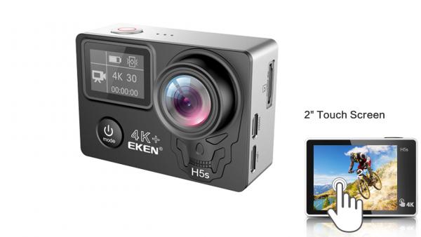 "Camera Video Sport Eken H5s+ 4k+ 12MP UHD 30fps EIS (stabilizator), Wi-Fi, 2"" LCD touch screen + dual dispaly , telecomanda, accesorii, carcasa waterproof 100feet, unghi de filmare 170 grade, ultra sl 3"