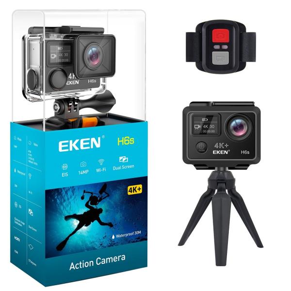 "Camera Video Sport Eken H6S+ 4k+ 14MP UHD @30fps, cu EIS Wifi, 2""LCD dual dispaly , telecomanda, accesorii, carcasa waterproof 100 feet , negru 0"