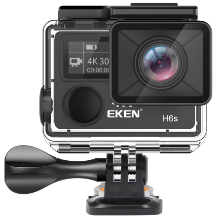 "Camera Video Sport Eken H6S+ 4k+ 14MP UHD @30fps, cu EIS Wifi, 2""LCD dual dispaly , telecomanda, accesorii, carcasa waterproof 100 feet , negru 1"