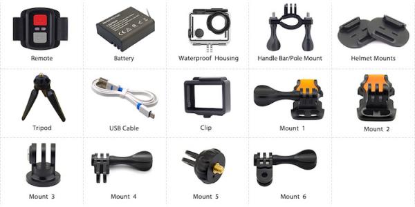 "Camera Video Sport Eken H7s Pro 4k+ 14MP UHD @30fps, Wi-Fi, Touch screen, 2""LCD Dual dispaly , telecomanda, accesorii, carcasa waterproof 30m , negru [4]"