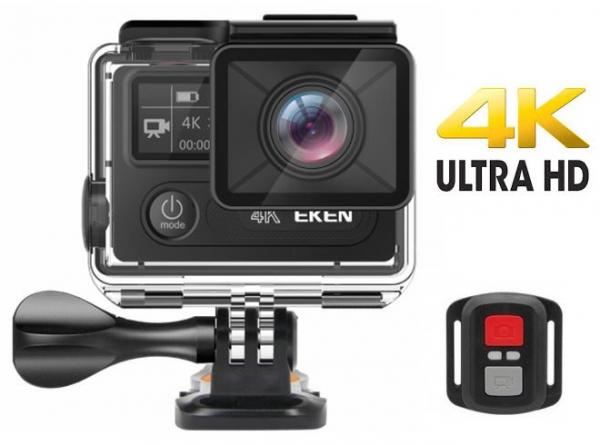 "Camera Video Sport Eken H8R Plus 4k+ 14MP UHD @30fps, Wi-Fi, 2""LCD Dual Dispaly , telecomanda, accesorii, carcasa waterproof 30m , negru 0"