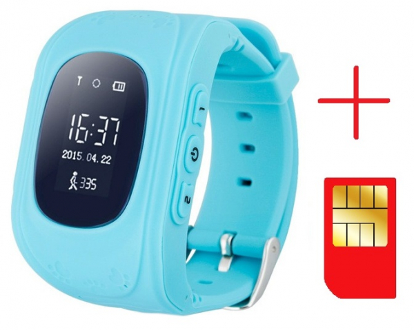 Ceas smartwatch cu GPS copii MoreFIT™ Q50, functie telefon, monitorizare GPS in timp real , Wi-FI, buton SOS si monitorizare spion, albastru +SIM prepay cadou 2