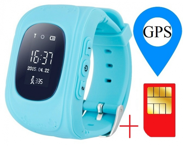 Ceas smartwatch cu GPS copii MoreFIT™ Q50, functie telefon, monitorizare GPS in timp real , Wi-FI, buton SOS si monitorizare spion, albastru +SIM prepay cadou 1