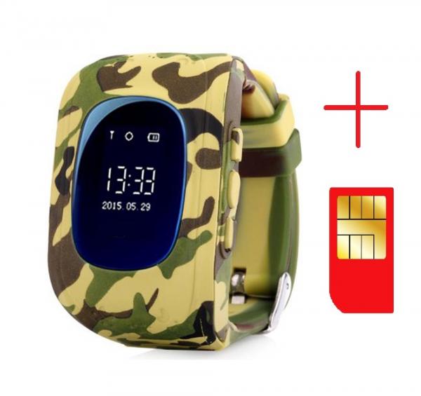 Ceas smartwatch cu GPS copii MoreFIT™ Q50 , functie telefon, monitorizare GPS in timp real , Wi-FI, buton SOS si monitorizare spion, galben camo +SIM prepay cadou [2]