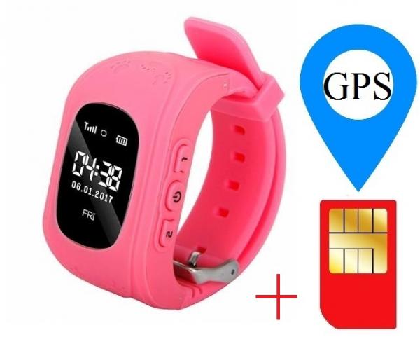 Ceas smartwatch cu GPS copii MoreFIT™ Q50 , functie telefon, monitorizare GPS in timp real , Wi-FI, buton SOS si monitorizare spion, roz +SIM prepay cadou [1]
