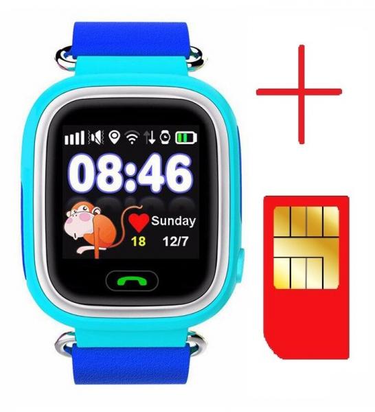 "Ceas smartwatch GPS copii MoreFIT™ GW100 Plus , cu GPS si functie telefon, Wi-Fi, ecran 1.22"" touchscreen, Bluetooth, tripla pozitionare, Buton SOS, vibratii, Albastru + SIM prepay cadou 2"