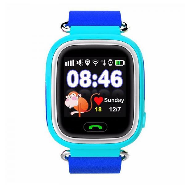"Ceas smartwatch GPS copii MoreFIT™ GW100 Plus , cu GPS si functie telefon, Wi-Fi, ecran 1.22"" touchscreen, Bluetooth, tripla pozitionare, Buton SOS, vibratii, Albastru + SIM prepay cadou 0"