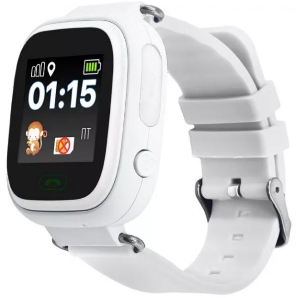 "Ceas smartwatch GPS copii MoreFIT™ GW100 Plus , cu GPS si functie telefon, Wi-Fi, ecran 1.22"" touchscreen, Bluetooth, tripla pozitionare, Buton SOS, vibratii, alb + SIM prepay cadou 1"