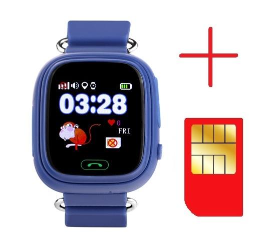 "Ceas smartwatch GPS copii MoreFIT™ GW100 Plus , cu GPS si functie telefon, Wi-Fi, ecran 1.22"" touchscreen, Bluetooth, tripla pozitionare, Buton SOS, vibratii, Bleumarin + SIM prepay cadou [2]"