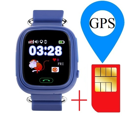 "Ceas smartwatch GPS copii MoreFIT™ GW100 Plus , cu GPS si functie telefon, Wi-Fi, ecran 1.22"" touchscreen, Bluetooth, tripla pozitionare, Buton SOS, vibratii, Bleumarin + SIM prepay cadou [1]"