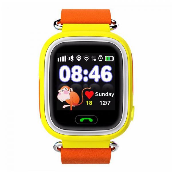 "Ceas smartwatch GPS copii MoreFIT™ GW100 Plus , cu GPS si functie telefon, Wi-Fi, ecran 1.22"" touchscreen, Bluetooth, tripla pozitionare, Buton SOS, vibratii, Galben + SIM prepay cadou 0"