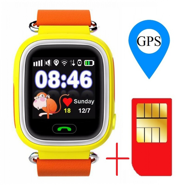"Ceas smartwatch GPS copii MoreFIT™ GW100 Plus , cu GPS si functie telefon, Wi-Fi, ecran 1.22"" touchscreen, Bluetooth, tripla pozitionare, Buton SOS, vibratii, Galben + SIM prepay cadou 1"