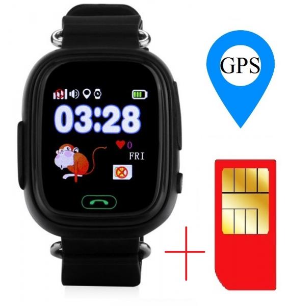 "Ceas smartwatch GPS copii MoreFIT™ GW100 Plus , cu GPS si functie telefon, Wi-Fi, ecran 1.22"" touchscreen, Bluetooth, tripla pozitionare, Buton SOS, vibratii, Negru + SIM prepay cadou 1"