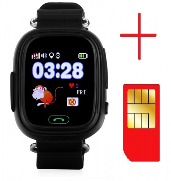 "Ceas smartwatch GPS copii MoreFIT™ GW100 Plus , cu GPS si functie telefon, Wi-Fi, ecran 1.22"" touchscreen, Bluetooth, tripla pozitionare, Buton SOS, vibratii, Negru + SIM prepay cadou 2"
