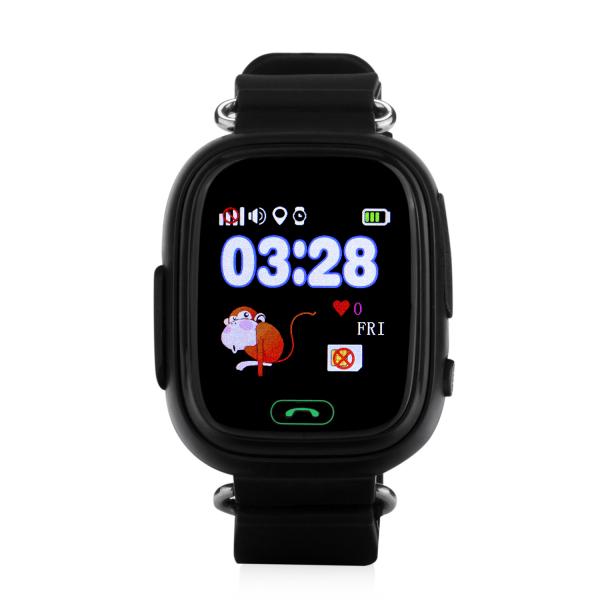 "Ceas smartwatch GPS copii MoreFIT™ GW100 Plus , cu GPS si functie telefon, Wi-Fi, ecran 1.22"" touchscreen, Bluetooth, tripla pozitionare, Buton SOS, vibratii, Negru + SIM prepay cadou 0"