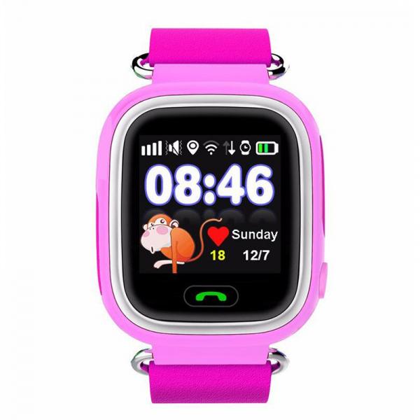 "Ceas smartwatch GPS copii MoreFIT™ GW100 Plus , cu GPS si functie telefon, Wi-Fi, ecran 1.22"" touchscreen, Bluetooth, tripla pozitionare, Buton SOS, vibratii, Roz + SIM prepay cadou 0"
