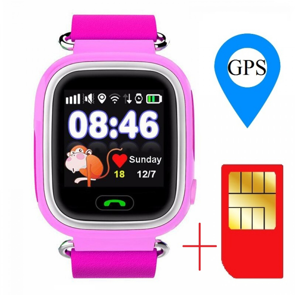 "Ceas smartwatch GPS copii MoreFIT™ GW100 Plus , cu GPS si functie telefon, Wi-Fi, ecran 1.22"" touchscreen, Bluetooth, tripla pozitionare, Buton SOS, vibratii, Roz + SIM prepay cadou 1"