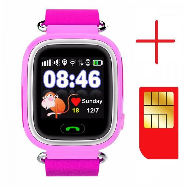 "Ceas smartwatch GPS copii MoreFIT™ GW100 Plus , cu GPS si functie telefon, Wi-Fi, ecran 1.22"" touchscreen, Bluetooth, tripla pozitionare, Buton SOS, vibratii, Roz + SIM prepay cadou 2"