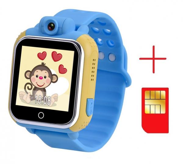 "Ceas smartwatch GPS copii MoreFIT™ GW1000 3G Pro , GPS, camera 2MP, Wi-FI si functie telefon, ecran touchscreen 1.54"", buton SOS, Albastru + SIM prepay cadou [2]"