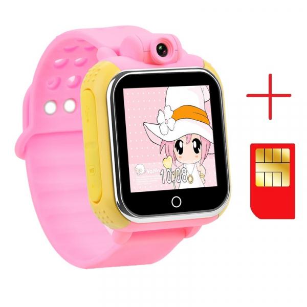 "Ceas smartwatch GPS copii MoreFIT™ GW1000 3G Pro , GPS, camera 2MP, Wi-FI si functie telefon, ecran touchscreen 1.54"", buton SOS, Roz + SIM prepay cadou 2"
