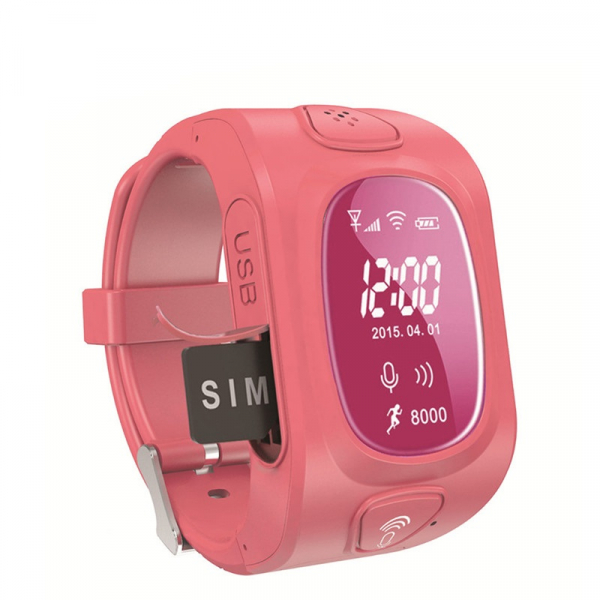 Ceas smartwatch GPS copii MoreFIT™ GW300, tripla pozitionare GPS+LBS+WiFi, telefon, buton SOS, monitorizare spion, design rezistent, Roz + SIM prepay cadou 1