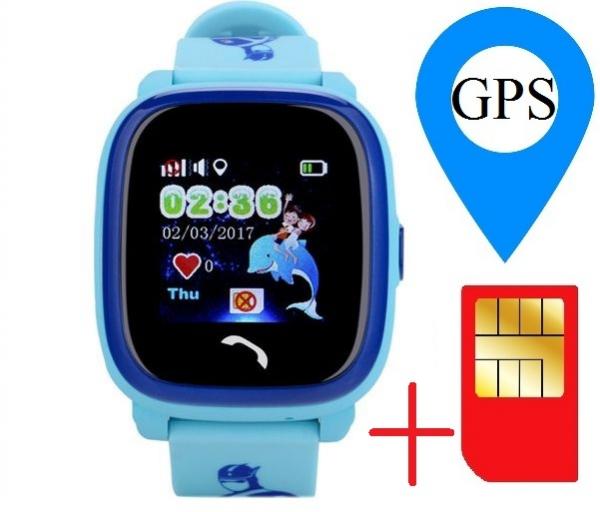 "Ceas smartwatch GPS copii MoreFIT™ GW400s Pro , cu GPS si functie telefon, Wi-Fi, rezistent la apa, ecran touchscreen 1.22"", monitorizare spion, buton SOS, albastru + SIM prepay cadou 1"
