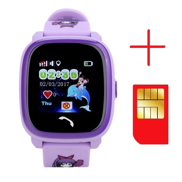 "Ceas smartwatch GPS copii MoreFIT™ GW400s Pro , cu GPS si functie telefon, Wi-Fi, rezistent la apa, ecran touchscreen 1.22"", monitorizare spion, buton SOS, lila + SIM prepay cadou 2"