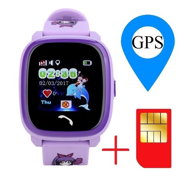 "Ceas smartwatch GPS copii MoreFIT™ GW400s Pro , cu GPS si functie telefon, Wi-Fi, rezistent la apa, ecran touchscreen 1.22"", monitorizare spion, buton SOS, lila + SIM prepay cadou 1"