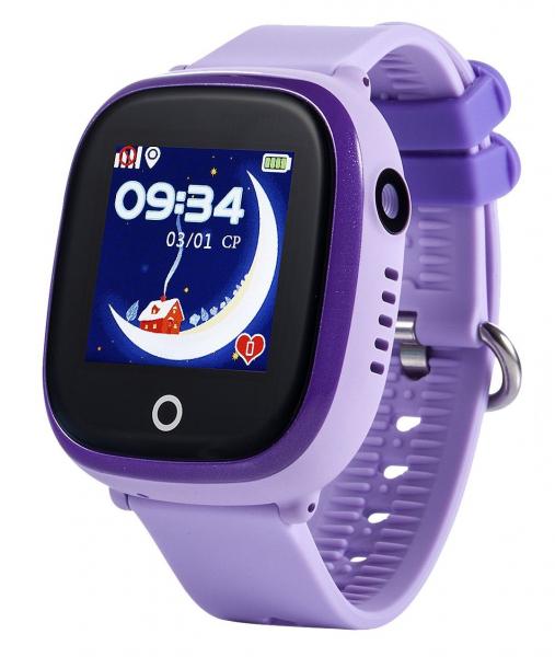 Ceas smartwatch GPS copii MoreFIT™ GW400x Pro , cu GPS si functie telefon, rezistent la apa, camera foto, buton SOS, mov +SIM prepay cadou [0]