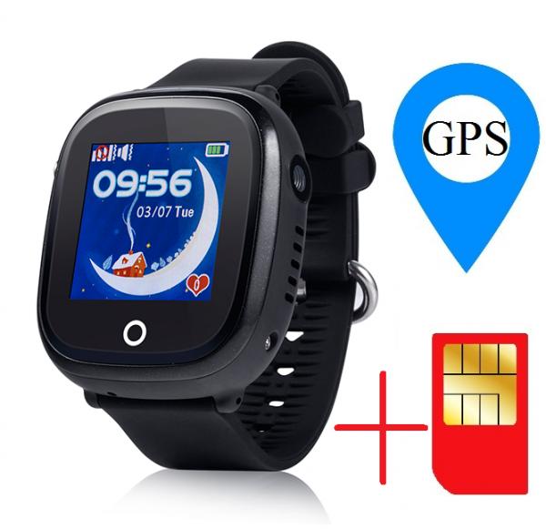Ceas smartwatch GPS copii MoreFIT™ GW400x Pro , cu GPS si functie telefon, rezistent la apa, camera foto, buton SOS, negru + SIM prepay cadou 1