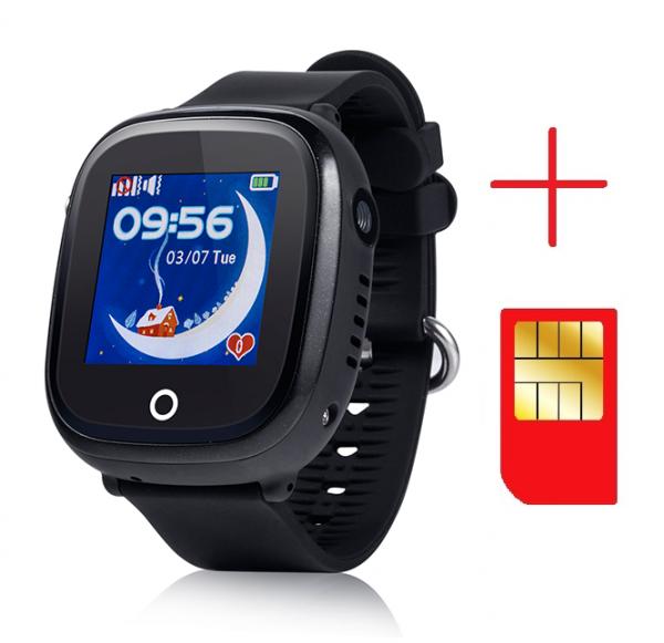 Ceas smartwatch GPS copii MoreFIT™ GW400x Pro , cu GPS si functie telefon, rezistent la apa, camera foto, buton SOS, negru + SIM prepay cadou 2